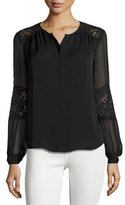 Rebecca Taylor Sarah Lace-Inset Top, Black