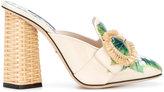Dolce & Gabbana Jackie hydrangea print mules - women - Leather - 36