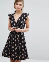 Oasis Bird Print Wrap Dress