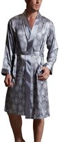 Tidecloth Men's Elegant Soft Printed Lounge Long Sleeve Bath Silk Robes L