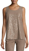 Lafayette 148 New York Elise Sleeveless Ombre Sequin Blouse, Taro