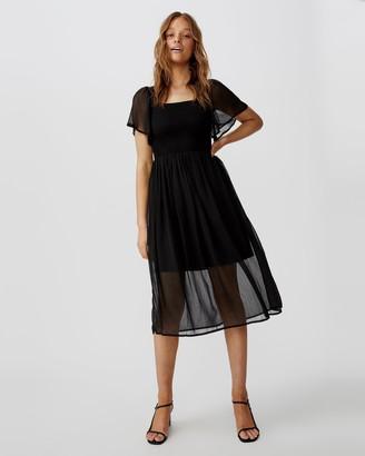 Cotton On Woven Saffron Shirred Flutter Sleeve Midi Dress