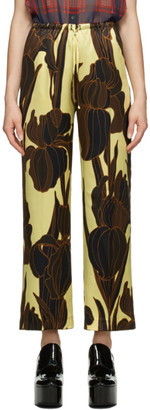 Dries Van Noten Yellow and Black Silk Floral Trousers