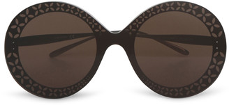 Alaia Round-frame metal brown sunglasses