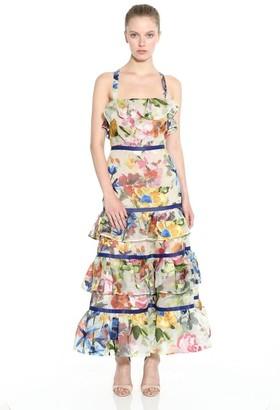 Marchesa Floral Organza Halter Neck Maxi Dress