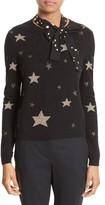 RED Valentino Women's Tie Neck Star Sweater