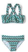 Classic Girls Slim Bikini Swimsuit Set-Jewel Green Mosaic
