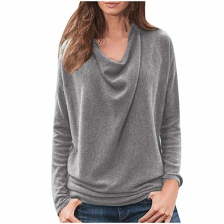 Andouy Women's Long Sleeve Tops Casual Loose Long Sleeve Irregular Personality Pullover Plus Size T Shirt Blouses Tunic Tops S-5XL(Gray XXXXXL)