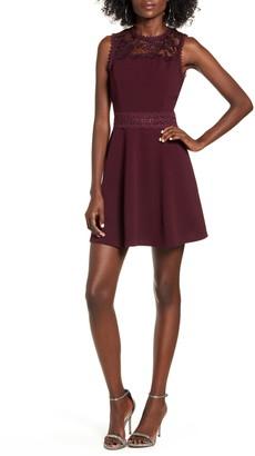 Speechless Lace Trim Illusion Scuba Fit & Flare Dress