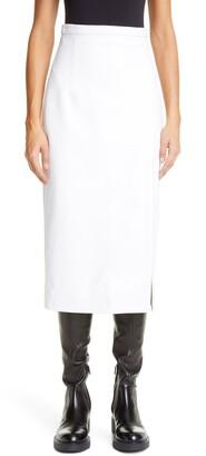 Meryll Rogge Slit Leather Midi Pencil Skirt