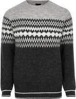 River Island Mens Grey Fairisle block knit jumper