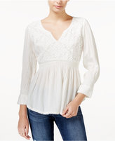 William Rast Clover Embroidered Babydoll Top