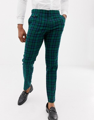 Asos DESIGN wedding skinny suit pants in blackwatch plaid