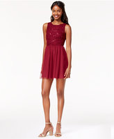 Speechless Juniors' Sequined Fit & Flare Dress