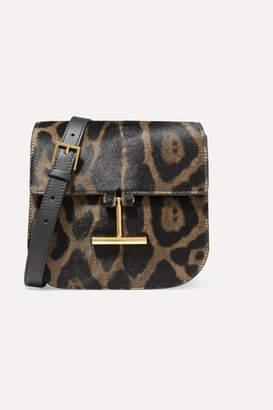 Tom Ford Tara Mini Leopard-print Calf Hair And Leather Shoulder Bag - Black