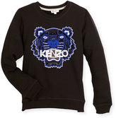Kenzo Cotton Logo Pullover Sweatshirt, Black, Size 6