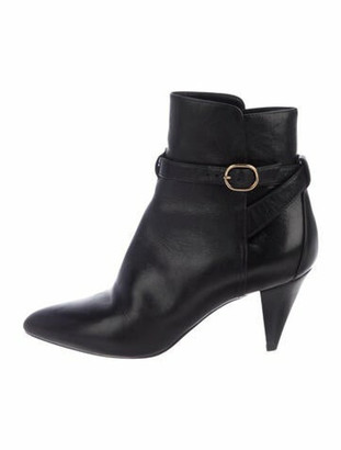 Celine Leather Pointed-Toe Ankle Boots Black