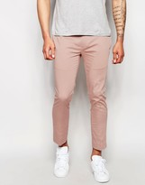 Asos Superskinny Cropped Pant In Pink Cotton Sateen