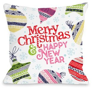 """Dayton The Holiday Aisle Colorful Holiday Wishes Throw Pillow The Holiday Aisle Size: 16"""" x 16"""""""
