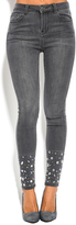 Gray Rhinestone-Accent Skinny Jeans