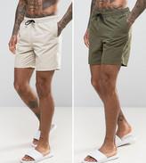 Asos Swim Shorts 2 Pack In Khaki & Stone Mid Length Save