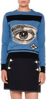 Stella McCartney Eye Intarsia Crewneck Sweater, Blue