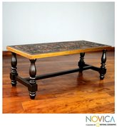 Novica Andean Birds Handmade Hand Tooled Leather Brown Mohena Wood Coffee Table (Peru)