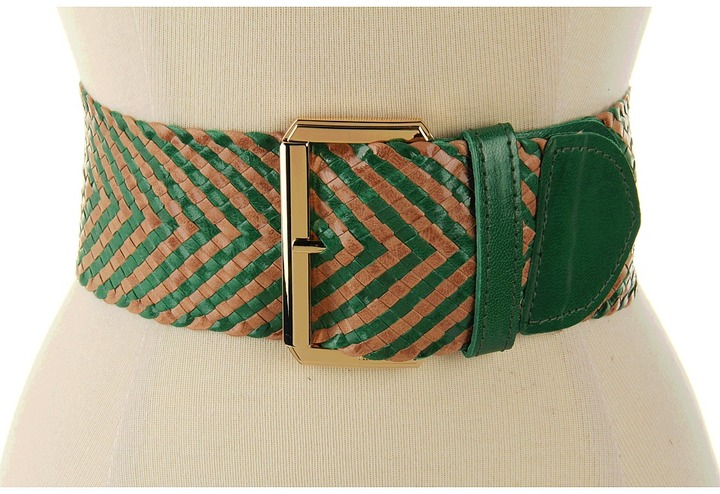 Vince Camuto 2 3/4 Buckle On Woven Goat Panel (Green) - Apparel