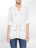 Calvin Klein Linen Slub Zip Detail Roll-Up Sleeve Camp Jacket