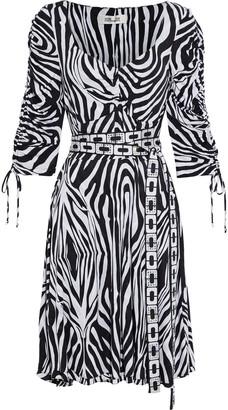 Diane von Furstenberg Hollis Belted Crystal-embellished Zebra-print Jersey Dress
