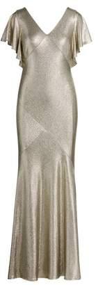 Ralph Lauren Metallic Flutter-Sleeve Gown