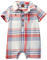 Tea Collection Plaid Polo Romper (Baby Boys)