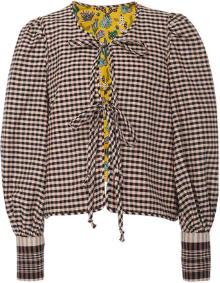 Alix of Bohemia Brigitte Tie-Detailed Plaid Cotton Jacket