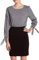 Vince Camuto Gingham Tie Sleeve Blouse