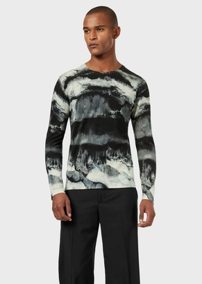 Emporio Armani Cashmere Wool Sweater With Watercolour Print