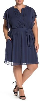 Dr2 By Daniel Rainn Swiss Dot Flutter Sleeve Tie Waist Dress (Plus Size)