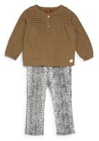 7 For All Mankind Baby's Cotton Blouse & Leopard-Print Pants