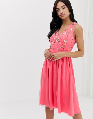 French Connection Palma Sparkle bead and mesh dress-Pink
