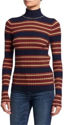Tory Burch Striped Wool Turtleneck Sweater