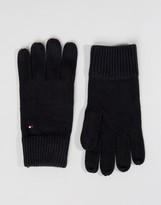 Tommy Hilfiger Cashmere Mix Gloves In Black