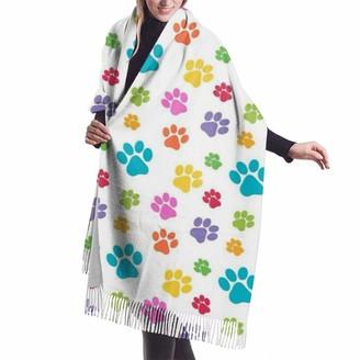 Gong Colorful Dog Paw Art Pattern Animal Paw Print Women Soft Cashmere Wool Scarf Large Pashminas Shawl Wrap Warm Stole Blanket