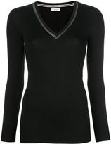 Brunello Cucinelli beaded-neckline long sleeved top