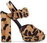 Prada Leopard-print Calf Hair Platform Sandals - Leopard print