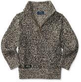Ralph Lauren Marled Cotton Pullover Sweater, Black/White, Size 2-7