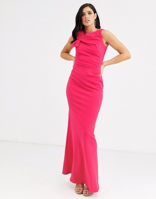 City Goddess side shoulder bow maxi dress