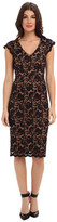 ABS by Allen Schwartz Deep V Stretch Lace Sheath