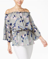 Say What ? Juniors' Printed Off-The-Shoulder Peasant Top