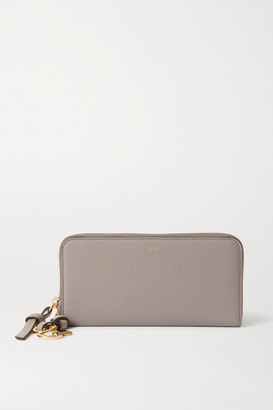 Chloé Alphabet Textured-leather Wallet - Gray