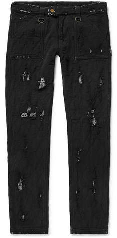 Blackmeans Skinny-Fit Distressed Cotton Trousers