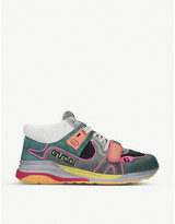 Gucci G-Line mid-top leather and textile trainers